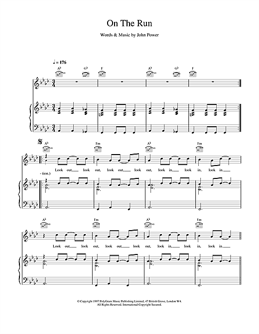 Cast On The Run sheet music notes printable PDF score