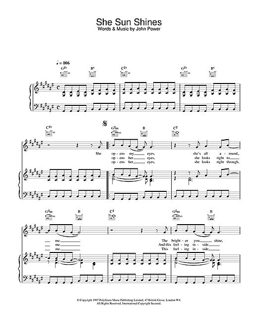 Cast She Sun Shines sheet music notes printable PDF score