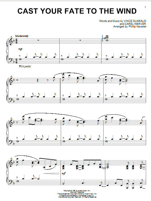 Vince Guaraldi Cast Your Fate To The Wind sheet music notes printable PDF score