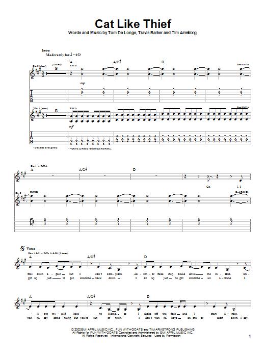 Box Car Racer Cat Like Thief sheet music notes printable PDF score