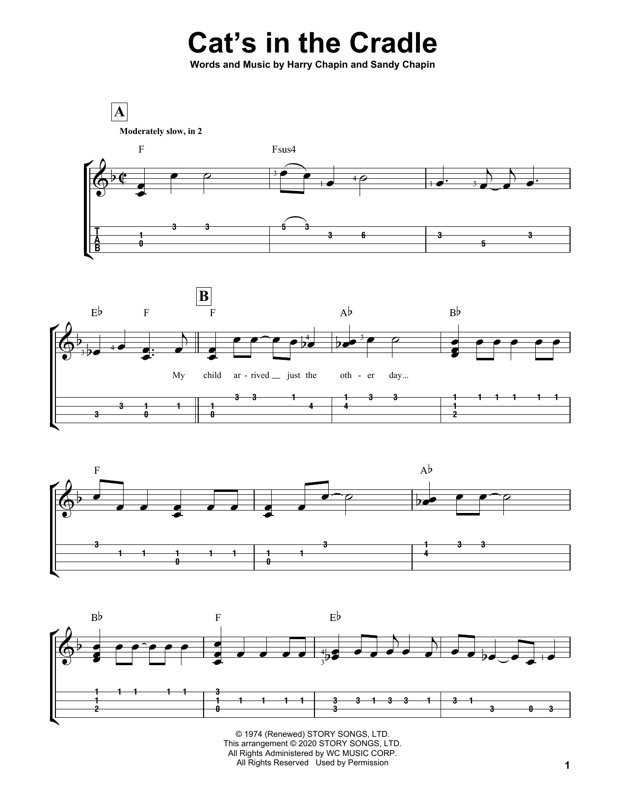 Harry Chapin Cat's In The Cradle sheet music notes printable PDF score