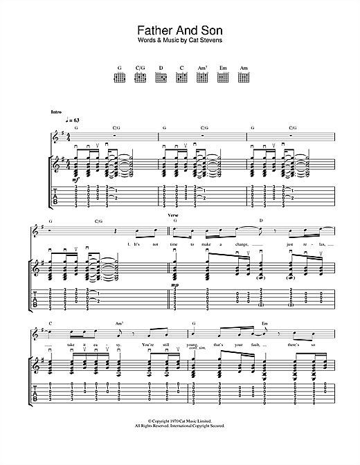 Cat Stevens Father And Son sheet music notes and chords. Download Printable PDF.