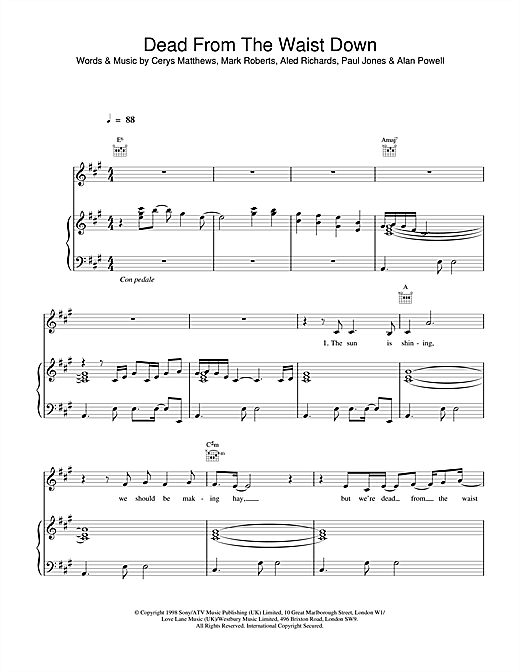Catatonia Dead From The Waist Down sheet music notes printable PDF score