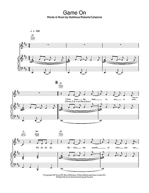 Catatonia Game On sheet music notes printable PDF score
