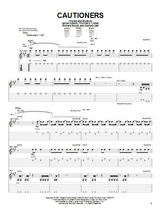 Jimmy Eat World Cautioners sheet music notes printable PDF score