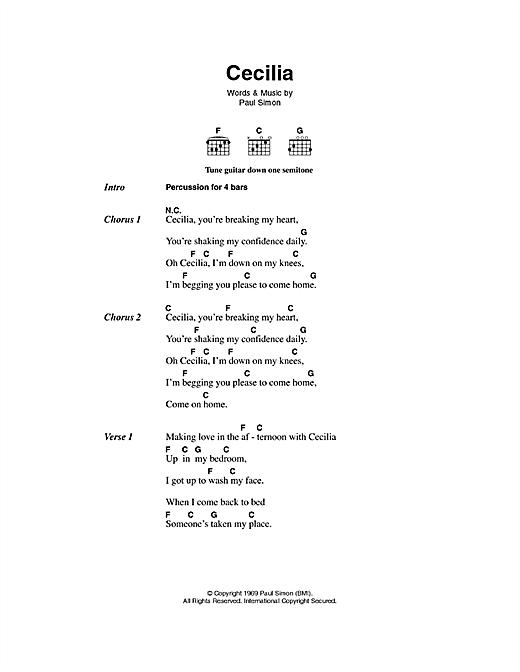 Simon & Garfunkel Cecilia sheet music notes printable PDF score
