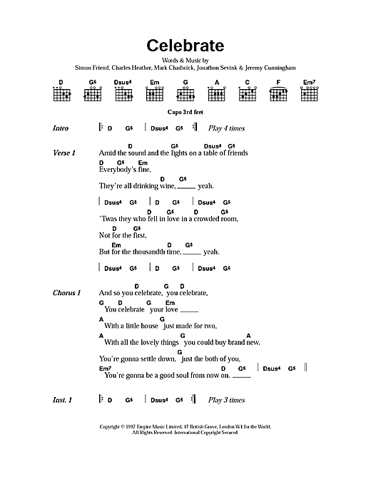 The Levellers Celebrate sheet music notes printable PDF score