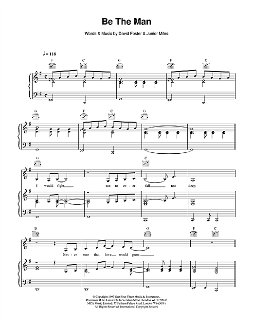 Celine Dion Be The Man sheet music notes printable PDF score