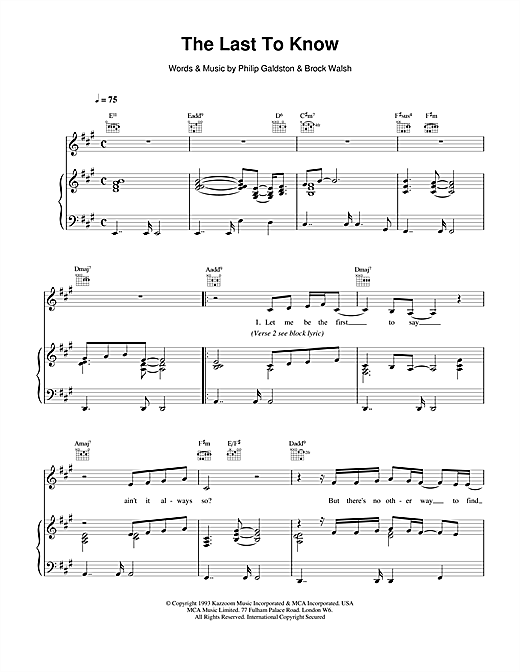 Celine Dion The Last To Know sheet music notes printable PDF score