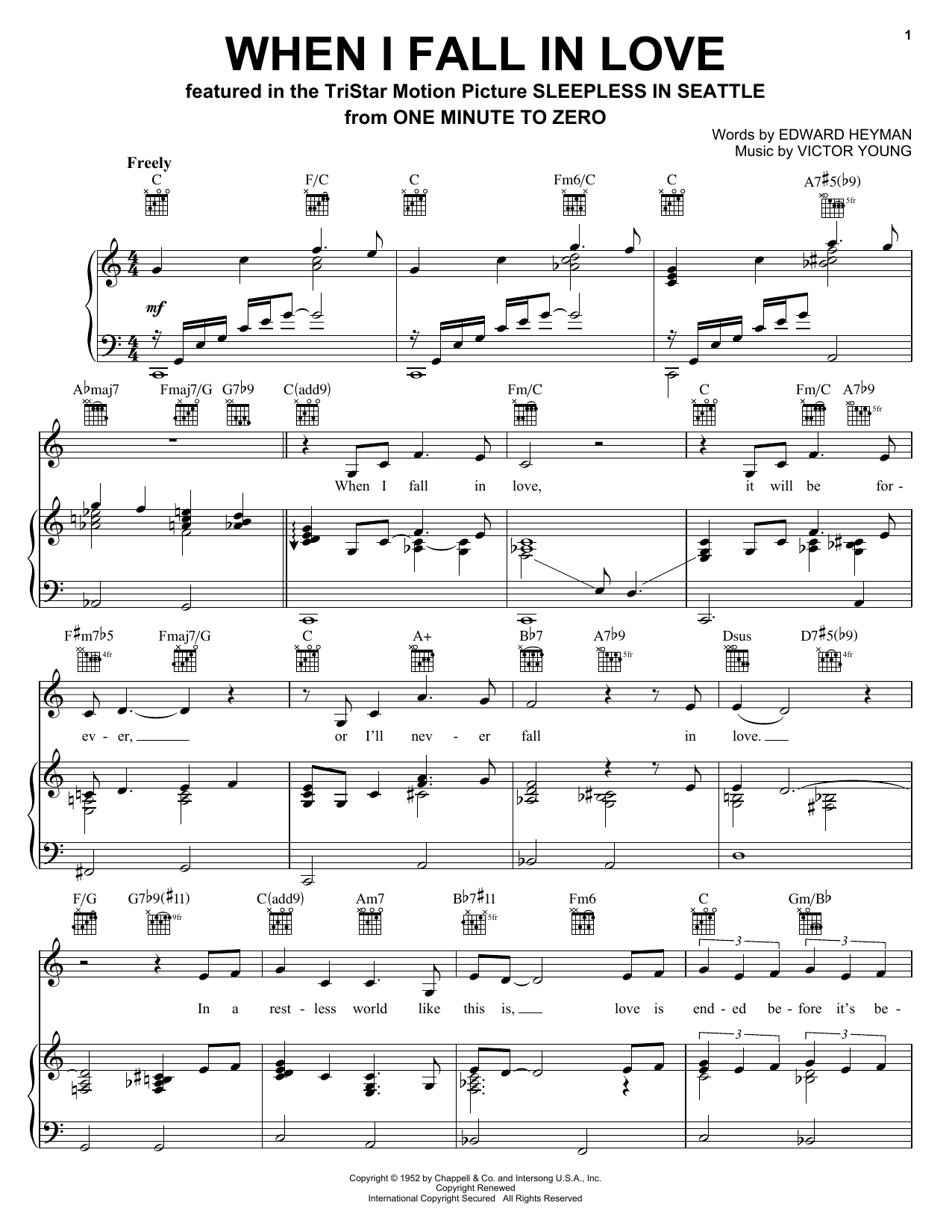 Celine Dion When I Fall In Love sheet music notes printable PDF score