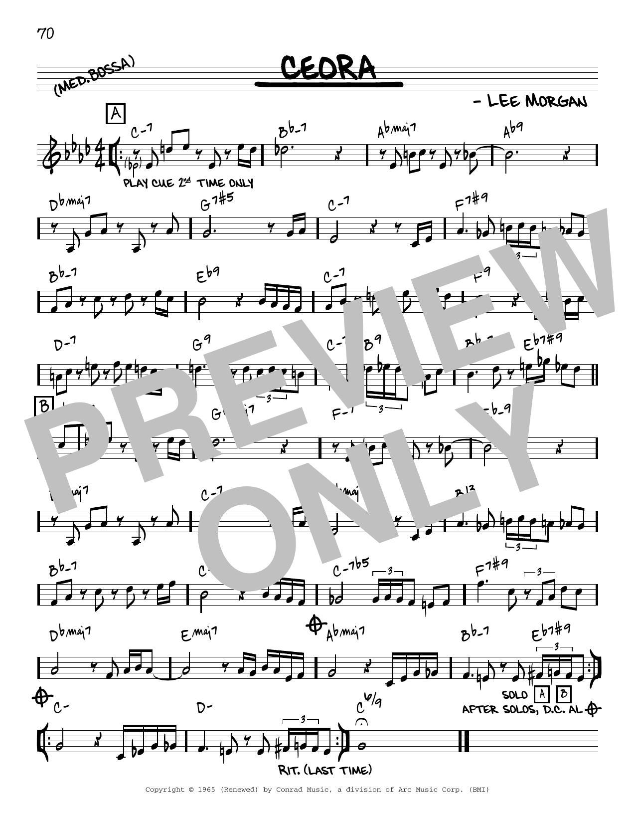 Lee Morgan Ceora [Reharmonized version] (arr. Jack Grassel) sheet music notes printable PDF score