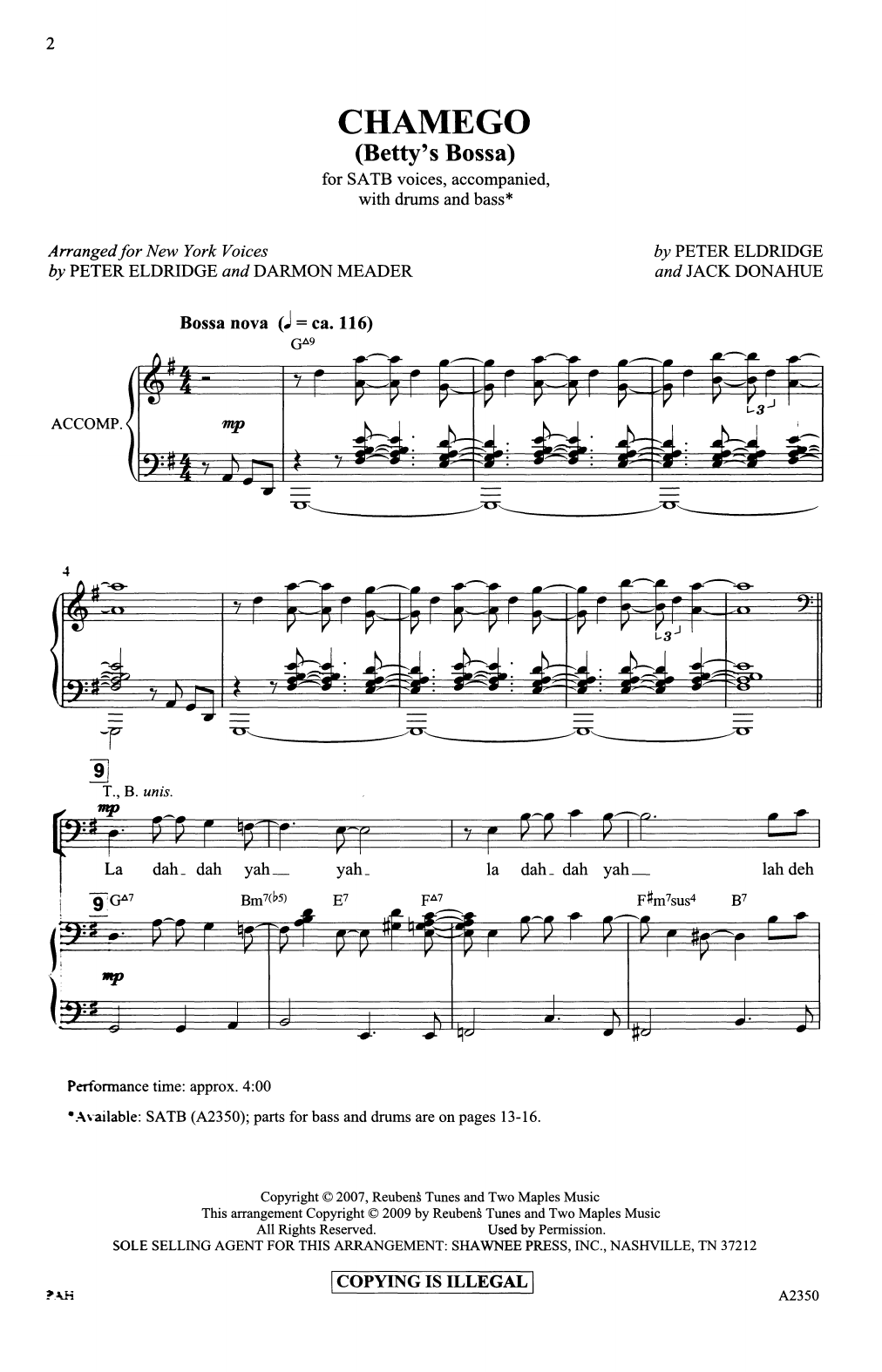 Peter Eldridge and Jack Donahue Chamego (Betty's Bossa) (arr. Darmon Meader and Peter Eldridge) sheet music notes printable PDF score