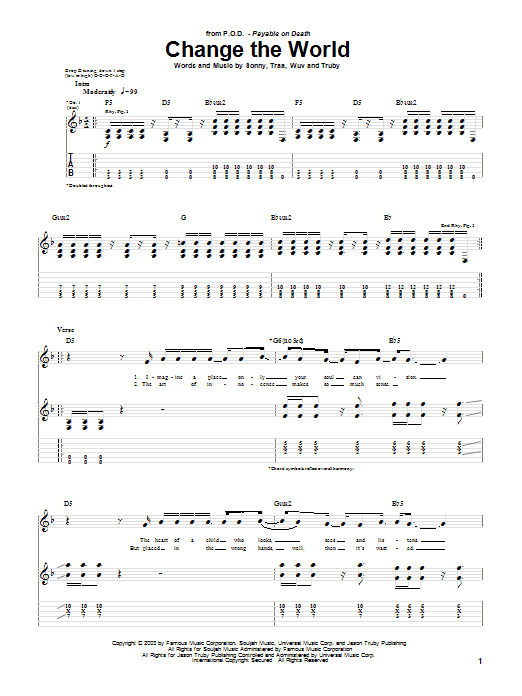 P.O.D. (Payable On Death) Change The World sheet music notes printable PDF score