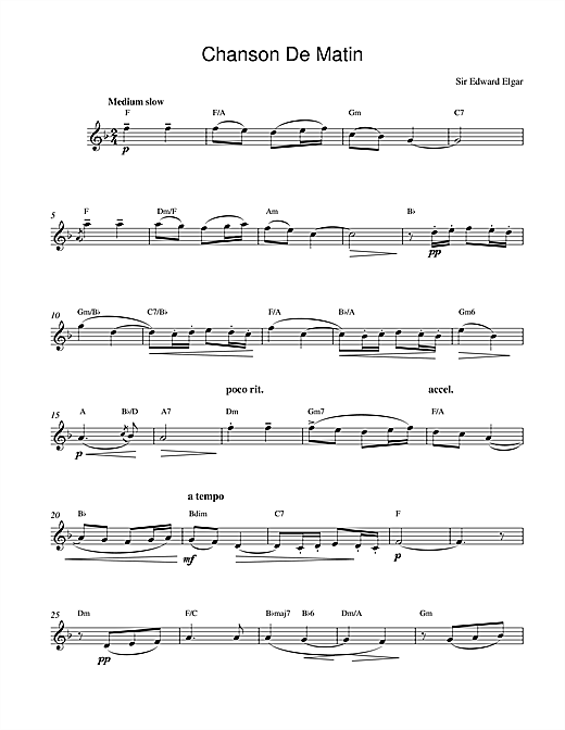 Edward Elgar Chanson De Matin Opus 15, No. 2 sheet music notes printable PDF score