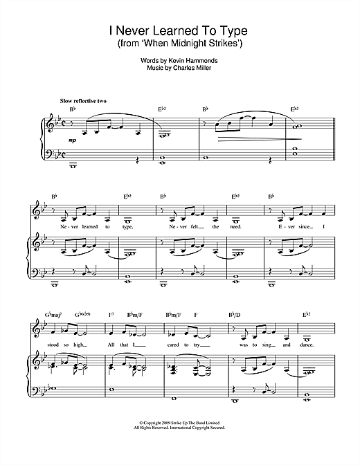 Charles Miller & Kevin Hammonds I Never Learned To Type (from When Midnight Strikes) sheet music notes printable PDF score
