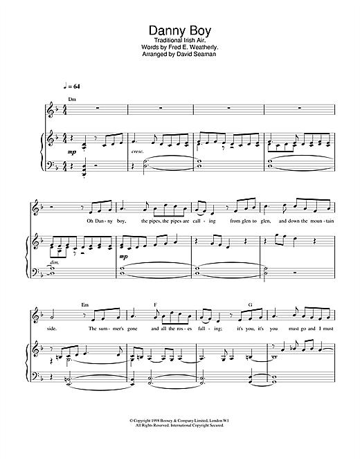 Charlotte Church Danny Boy (Londonderry Air) sheet music notes printable PDF score