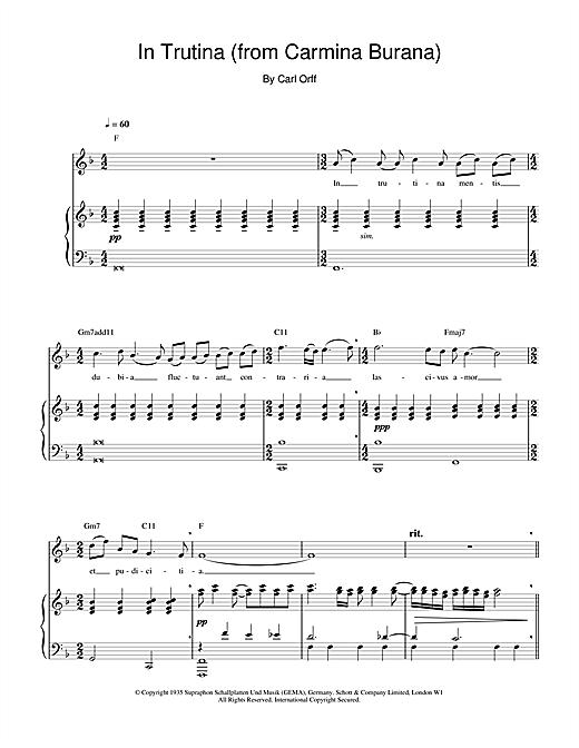 Charlotte Church In Trutina (from Carmina Burana) sheet music notes printable PDF score