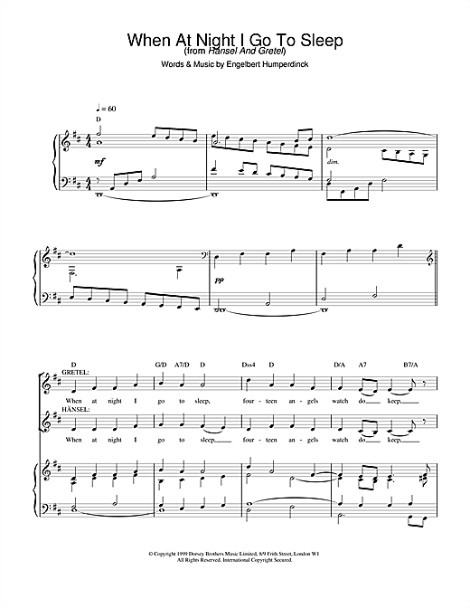 Charlotte Church When At Night I Go To Sleep sheet music notes printable PDF score