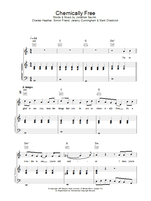The Levellers Chemically Free sheet music notes printable PDF score
