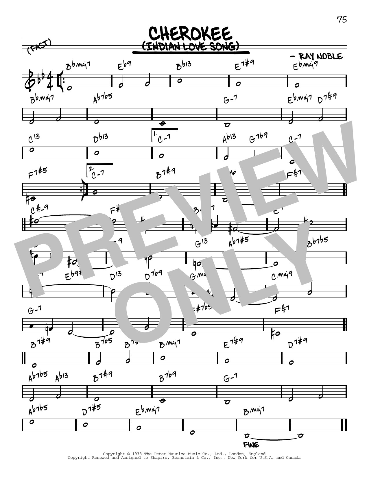 Ray Noble And His Orchestra Cherokee (Indian Love Song) [Reharmonized version] (arr. Jack Grassel) sheet music notes printable PDF score