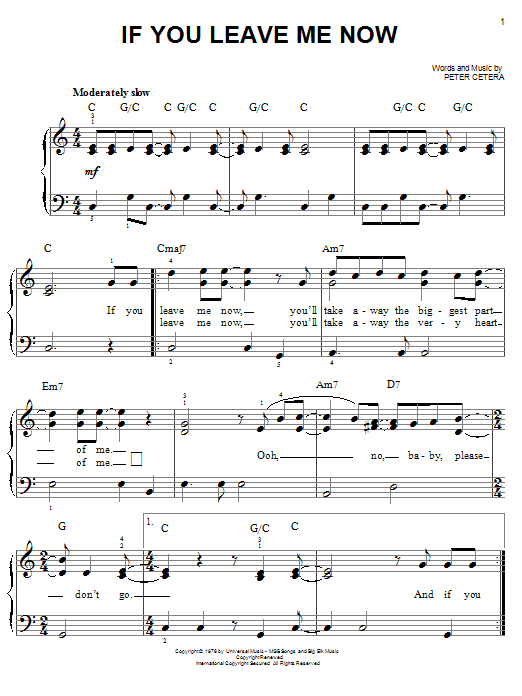 Chicago If You Leave Me Now sheet music notes and chords. Download Printable PDF.