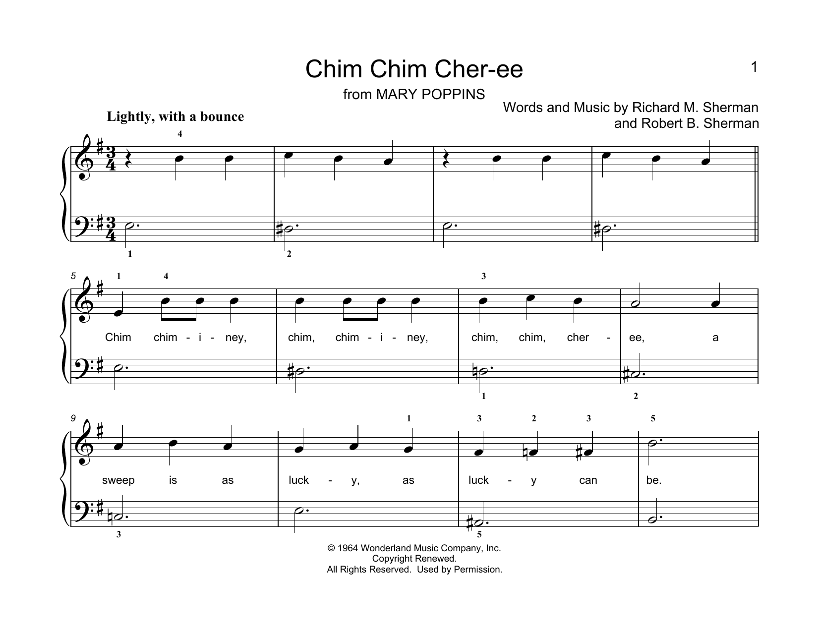 Sherman Brothers Chim Chim Cher-ee (from Mary Poppins) (arr. Christopher Hussey) sheet music notes printable PDF score