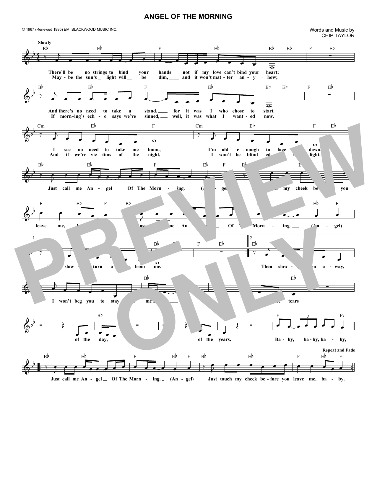 Chip Taylor Angel Of The Morning sheet music notes and chords. Download Printable PDF.