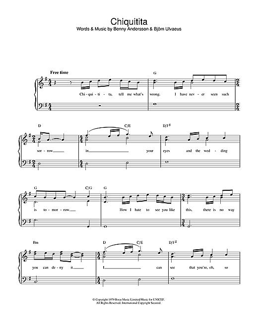 ABBA Chiquitita sheet music notes printable PDF score