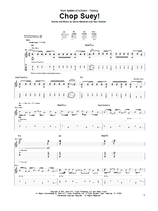 System Of A Down Chop Suey! sheet music notes printable PDF score