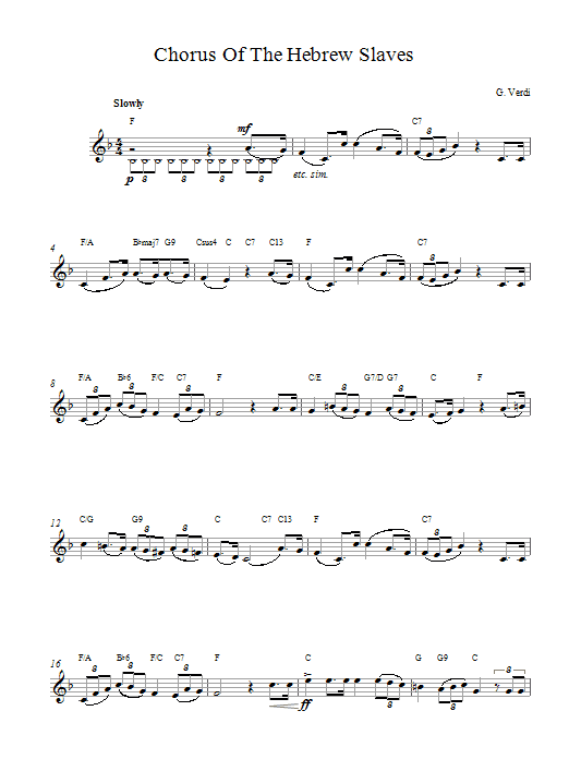 Giuseppe Verdi Chorus Hebrew Slaves sheet music notes printable PDF score