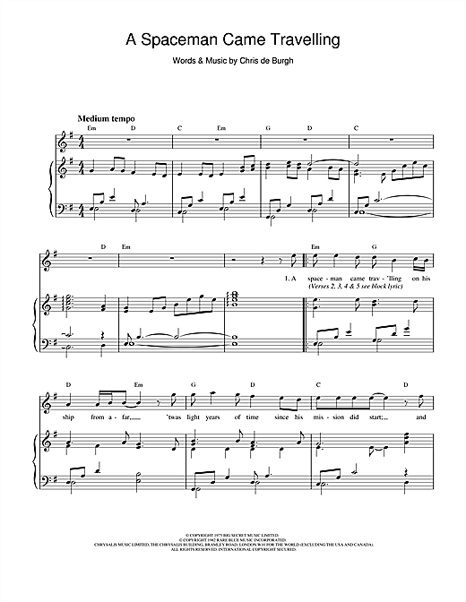 Chris de Burgh A Spaceman Came Travelling sheet music notes and chords. Download Printable PDF.