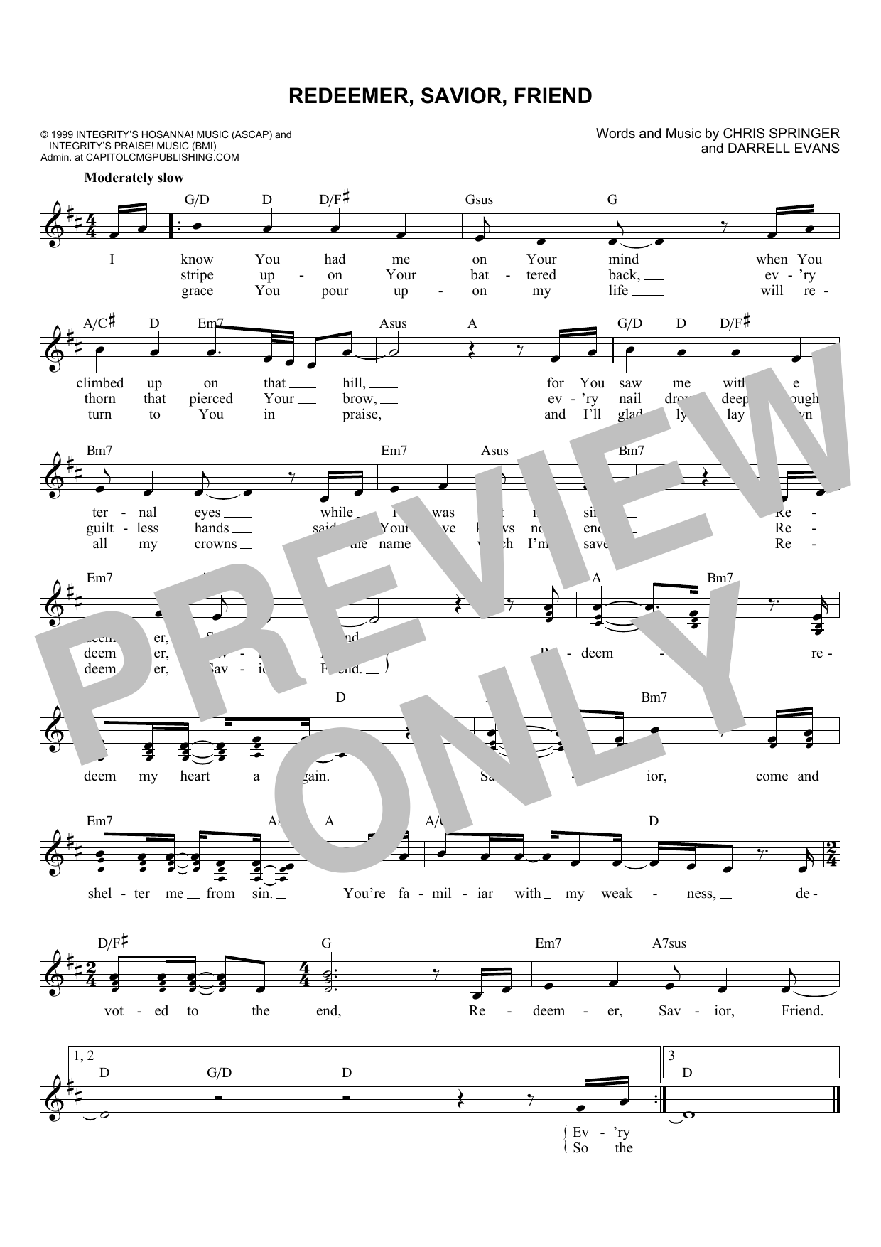 Chris Springer Redeemer, Savior, Friend sheet music notes and chords. Download Printable PDF.