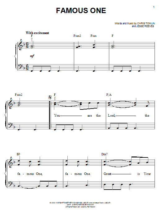 Chris Tomlin Famous One sheet music notes and chords. Download Printable PDF.