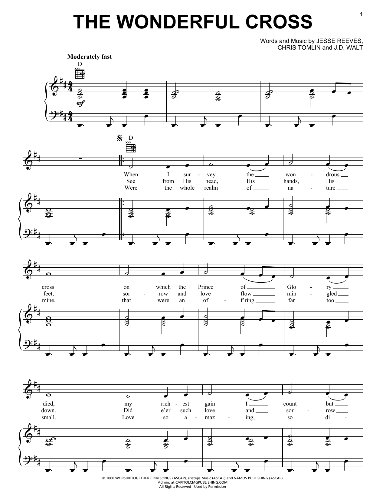 Chris Tomlin The Wonderful Cross sheet music notes and chords - download printable PDF.