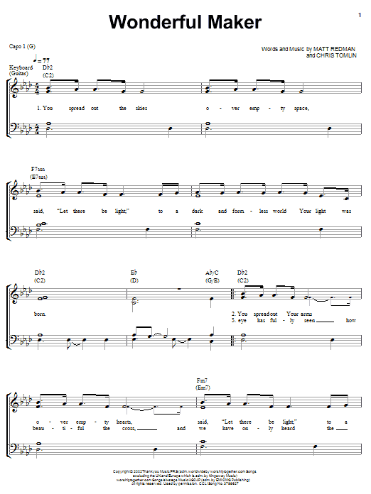 Chris Tomlin Wonderful Maker sheet music notes and chords. Download Printable PDF.