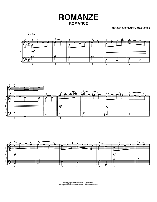 Christian Gottlob Neefe Romance sheet music notes printable PDF score