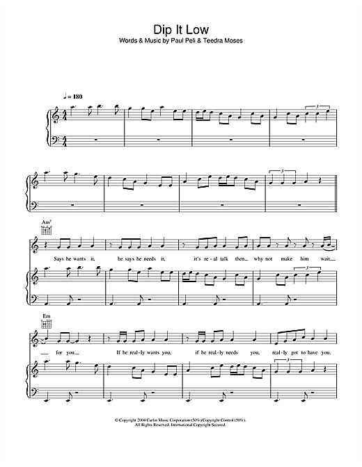 Christina Milian Dip It Low sheet music notes printable PDF score