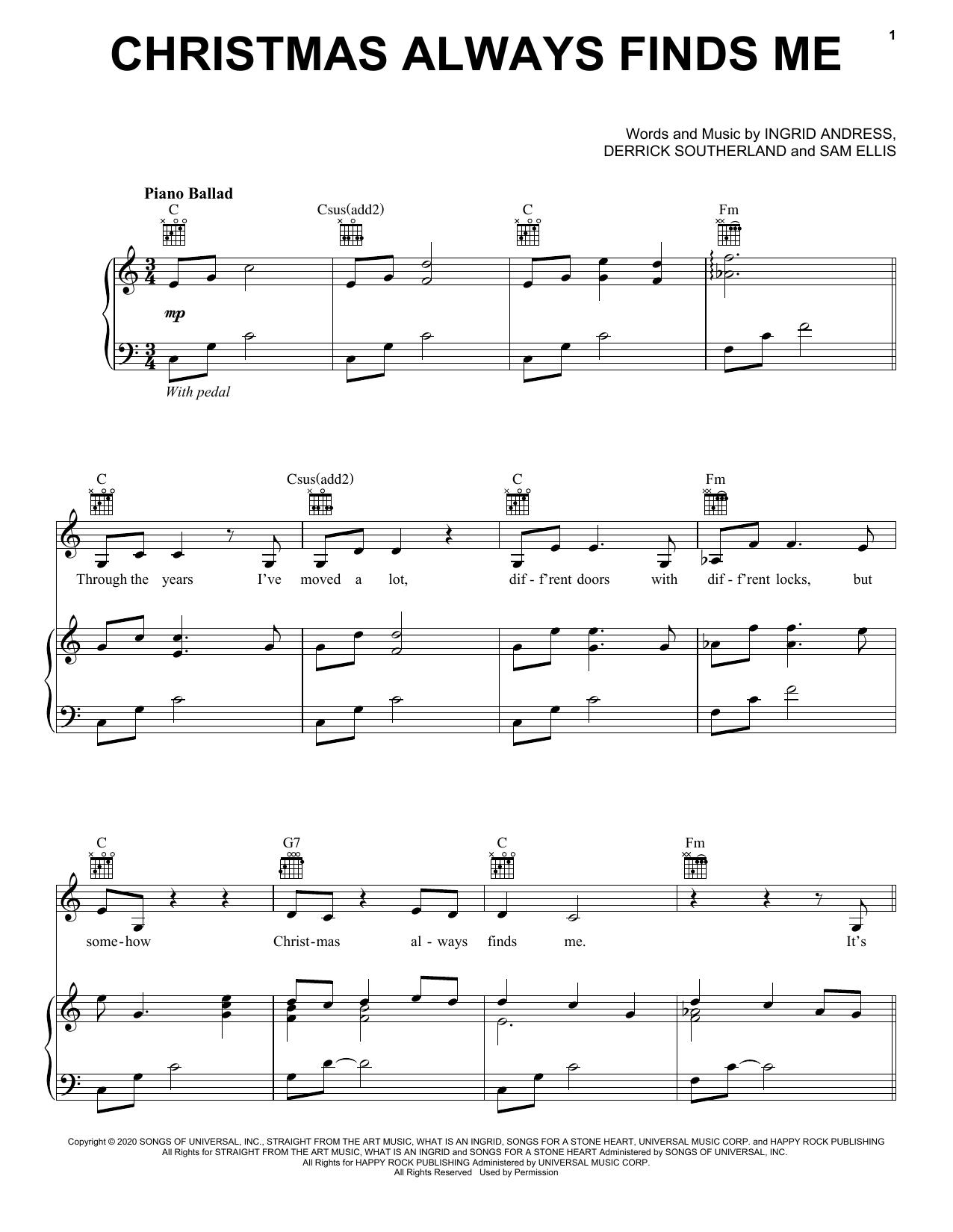 Ingrid Andress Christmas Always Finds Me sheet music notes printable PDF score