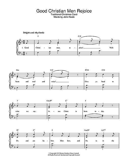 Christmas Carol Good Christian Men, Rejoice sheet music notes and chords. Download Printable PDF.