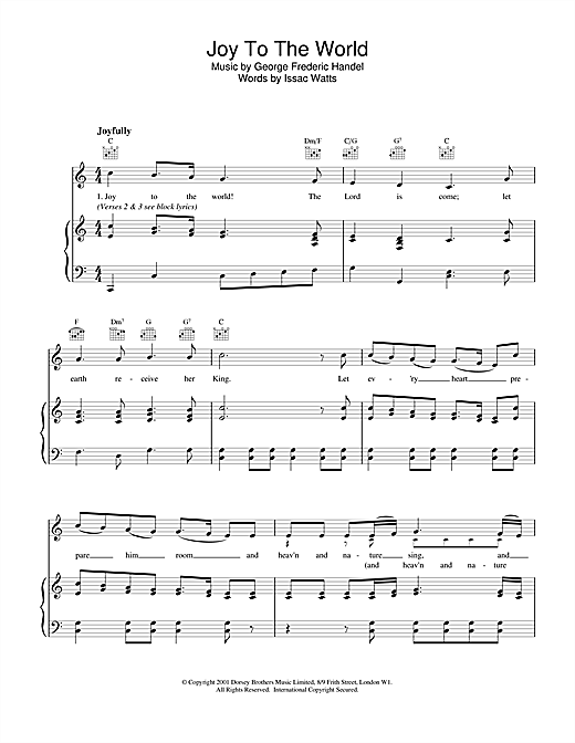 Christmas Carol Joy To The World sheet music notes and chords. Download Printable PDF.