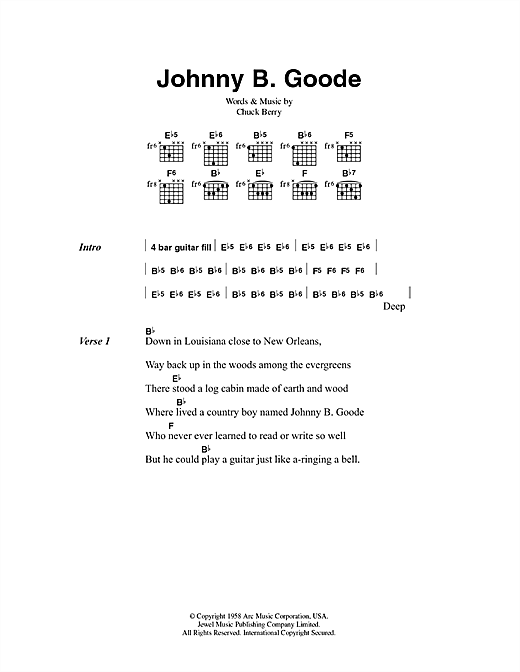Chuck Berry Johnny B. Goode sheet music notes printable PDF score