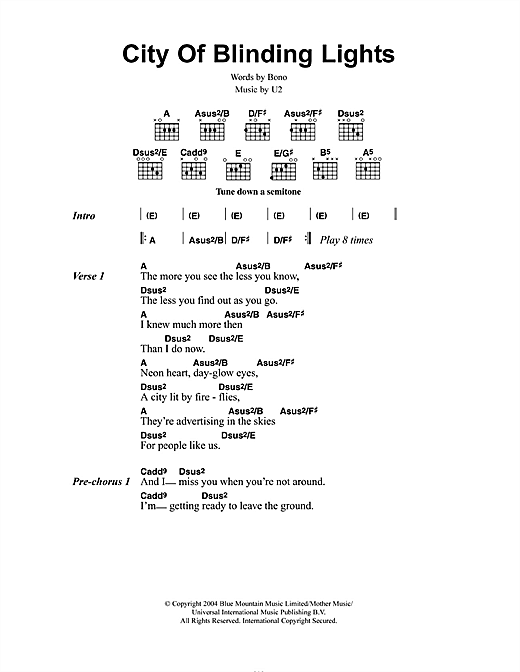 U2 City Of Blinding Lights sheet music notes printable PDF score