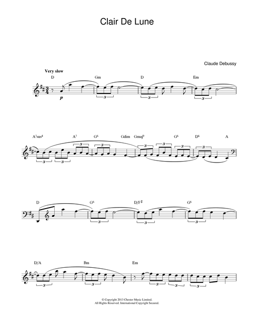 Claude Debussy Clair De Lune (from Suite Bergamasque) sheet music notes printable PDF score