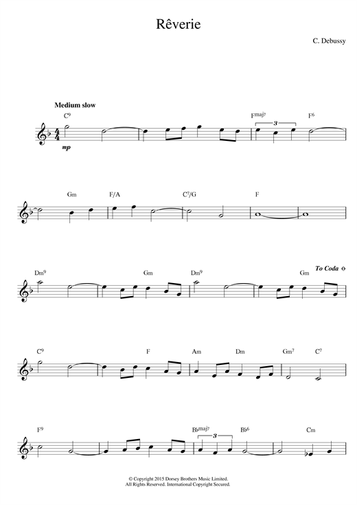 Claude Debussy Reverie sheet music notes and chords. Download Printable PDF.