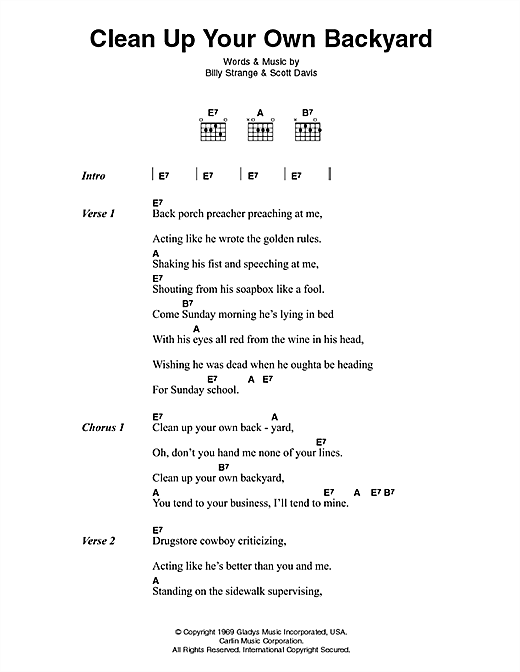 Elvis Presley Clean Up Your Own Backyard sheet music notes printable PDF score