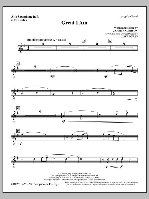 Cliff Duren Great I Am - Alto Sax (sub. Horn) sheet music notes printable PDF score