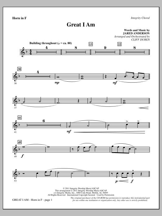 Cliff Duren Great I Am - F Horn sheet music notes printable PDF score