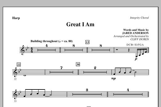 Cliff Duren Great I Am - Harp sheet music notes printable PDF score