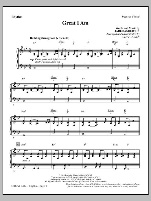 Cliff Duren Great I Am - Rhythm sheet music notes printable PDF score