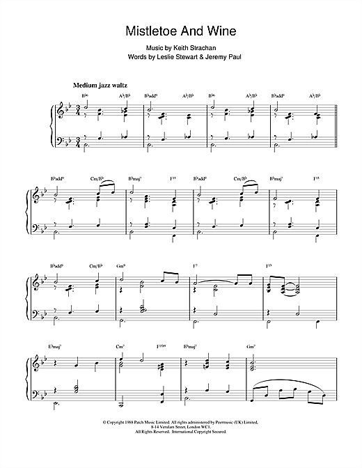 Cliff Richard Mistletoe And Wine (jazzy arrangement) sheet music notes printable PDF score